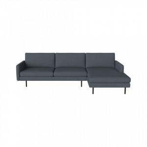 Canapea cu colt albastru prafuit din poliester si lemn 276 cm Scandinavia Remix Right Bolia