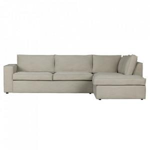 Canapea cu colt crem din poliester 283 cm Freddie Right Woood