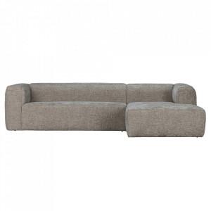 Canapea cu colt crem din poliester si lemn 305 cm Bean Melange Right Woood
