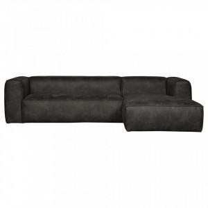 Canapea cu colt din piele neagra 305 cm Bean Right Woood