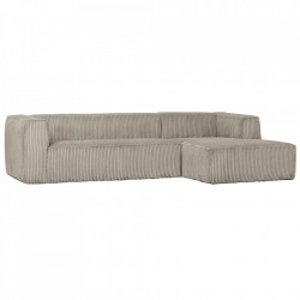Canapea cu colt gri deschis din poliester si lemn 305 cm Bean Hefty Right Woood