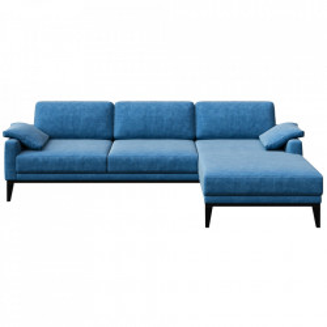 Canapea cu colt turcoaz din poliester si lemn pentru 4 persoane Musso Right Brill Mesonica