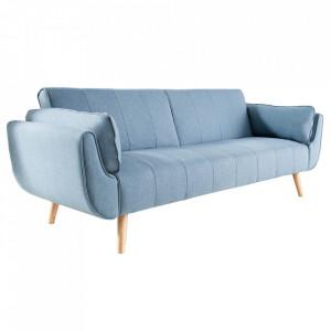 Canapea extensibila albastra din poliester si lemn 215 cm Divani II Invicta Interior