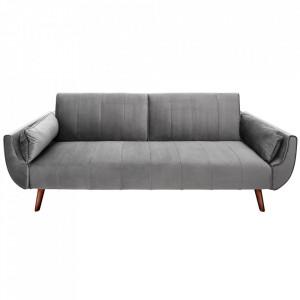 Canapea extensibila argintie/gri din catifea si lemn 215 cm Divani Invicta Interior