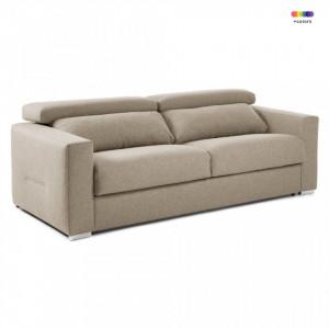 Canapea extensibila bej din textil si metal 224 cm Queen Visco La Forma