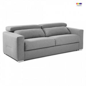 Canapea extensibila gri deschis din textil si metal 204 cm Queen Visco La Forma