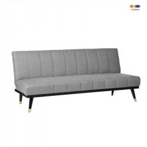 Canapea extensibila gri din lemn de pin si poliester pentru 2 persoane Madrid Grey Somcasa