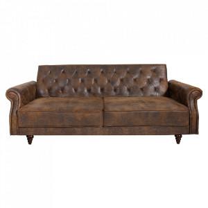 Canapea extensibila maro antichizat din poliester si lemn 220 cm Maison Belle Invicta Interior