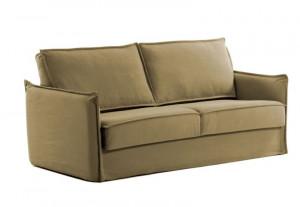 Canapea extensibila maro din bumbac si metal 202 cm Samsa Visco La Forma