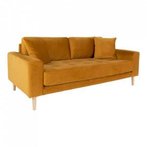 Canapea galben mustar din catifea si lemn pentru 2,5 persoane Lido House Nordic