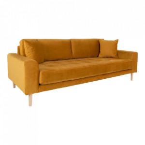 Canapea galben mustar din catifea si lemn pentru 3 persoane Lido House Nordic