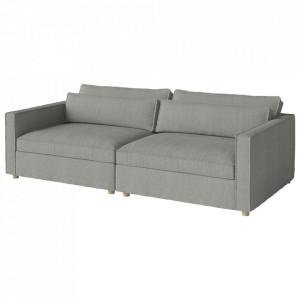 Canapea gri deschis din poliester si lemn 242 cm Aya Bolia
