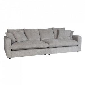 Canapea gri deschis din poliester si lemn pentru 3 persoane Sense Zuiver