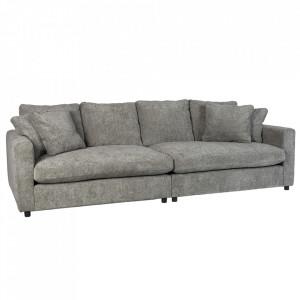 Canapea gri din poliester si lemn pentru 3 persoane Sense Zuiver