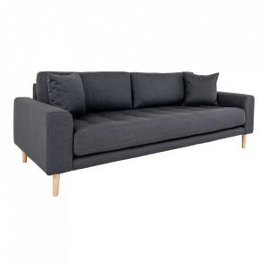 Canapea gri inchis din poliester si lemn pentru 3 persoane Lido House Nordic