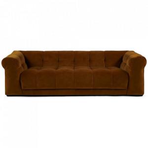 Canapea maro auriu din catifea si lemn pentru 3,5 persoane Cobble Hill Riviera Maison