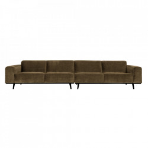 Canapea maro din poliester si lemn de mesteacan pentru 4 persoane Statement XL Be Pure Home