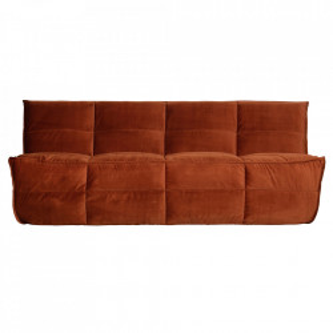 Canapea maro ruginiu din catifea pentru 3 persoane Cluster Woood