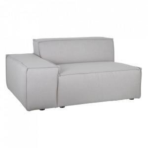 Canapea modulara gri din poliester si lemn 134 cm Bandon Left Denzzo