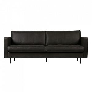 Canapea neagra din piele 230 cm Rodeo Classic Black Be Pure Home