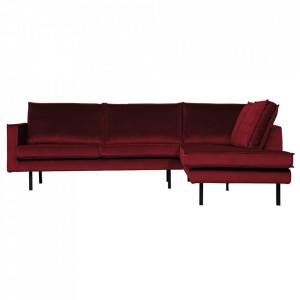 Canapea rosie din catifea cu colt 266 cm Rodeo Right Be Pure Home