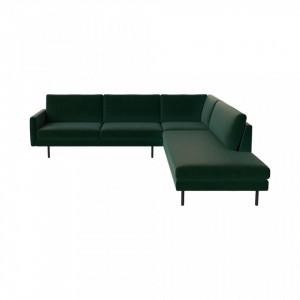 Canapea verde cu colt pentru 5 persoane din poliester si lemn Remix Dark Right Bolia