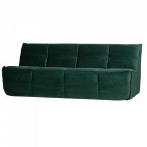 Canapea verde din catifea pentru 3 persoane Cluster Woood