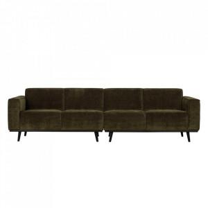 Canapea verde din poliester si lemn de mesteacan pentru 4 persoane Statement Be Pure Home