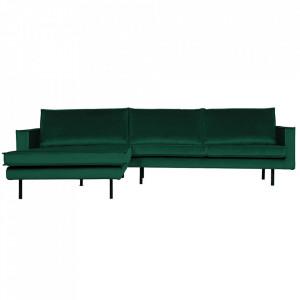 Canapea verde padure din poliester si metal cu colt pentru 3 persoane Rodeo Left Be Pure Home