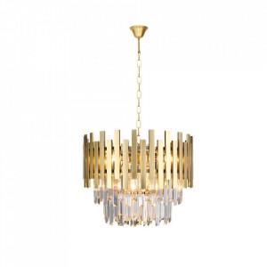 Candelabru auriu din cristal si metal cu 6 becuri Aspen Milagro Lighting