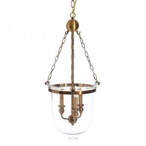 Candelabru auriu din metal si sticla 3 becuri Buck Ixia
