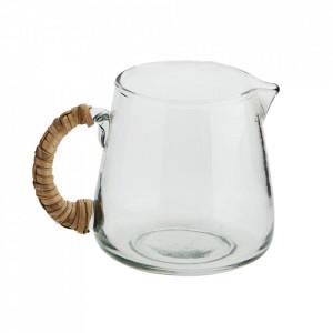 Carafa transparenta din sticla si bambus 10x14 cm Shari Madam Stoltz