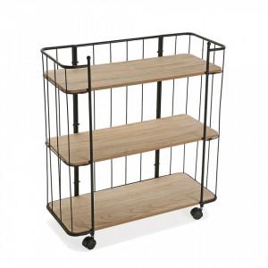 Carucior maro din lemn si metal 91,5 cm Shelf Wheels Versa Home