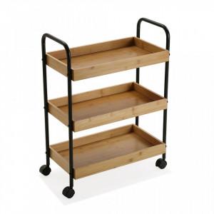 Carucior maro/negru din lemn si metal 70 cm Bamboo Shelf Versa Home