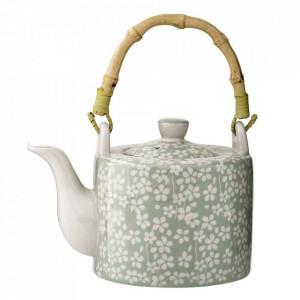 Ceainic alb/verde din ceramica 800 ml Seeke Bloomingville