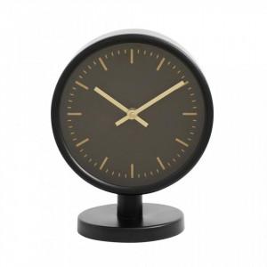 Ceas de masa negru/auriu din fier si MDF 16x20 cm Onyx Table Nordal
