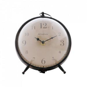 Ceas de masa negru rotund din fier si plastic 17 cm Babbel Be Pure Home