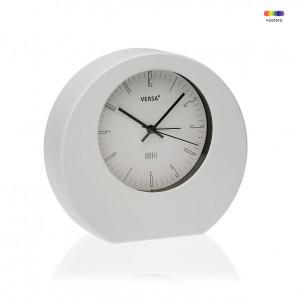 Ceas de masa rotund alb din plastic 17x18,2 cm White Alarm Clock Versa Home
