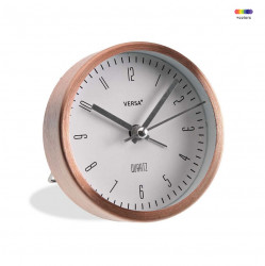 Ceas de masa rotund aramiu/alb din aluminiu 9 cm Copper Alarm Versa Home