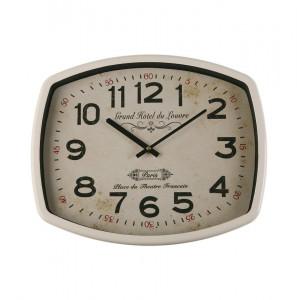 Ceas de perete dreptunghiular alb/negru din metal 33x40 cm Reloj Pared Louvre Versa Home