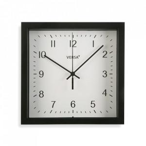 Ceas de perete patrat negru din plastic 23x23 cm Zoe Versa Home