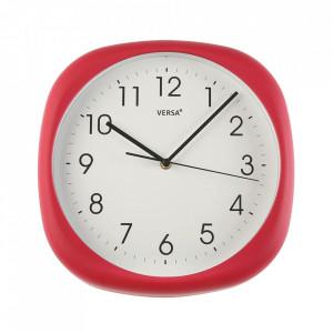 Ceas de perete patrat rosu din plastic 30x30 cm Ama Versa Home