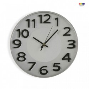 Ceas de perete rotund argintiu/negru din plastic 30 cm Silver Kitchen Clock Versa Home