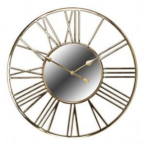 Ceas de perete rotund auriu din inox si sticla 92 cm Willson Richmond Interiors