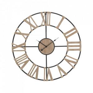 Ceas de perete rotund maro din MDF si fier 72 cm Industry Mauro Ferretti