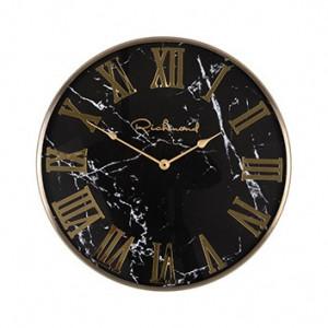 Ceas de perete rotund negru/auriu din inox si sticla 50 cm Magee Richmond Interiors
