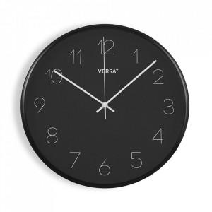 Ceas de perete rotund negru din plastic 35,4 cm Clara Versa Home