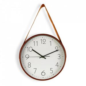 Ceas de perete rotund portocaliu/alb din lemn si piele 31,7x53 cm Adele Versa Home