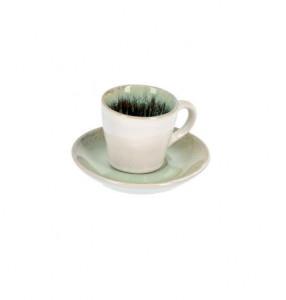 Ceasca alba/verde din ceramica cu farfurioara Zain La Forma
