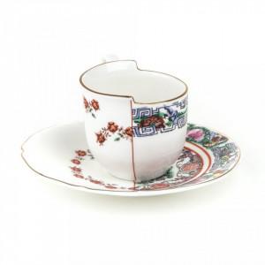 Ceasca de cafea cu farfurie din portelan Hybrid Tamara Seletti